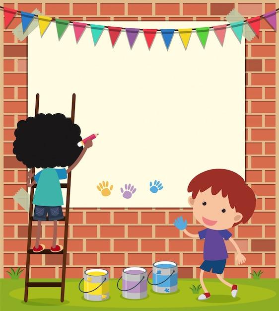Plantilla de borde con niños dibujando en la pared | Descargar ...