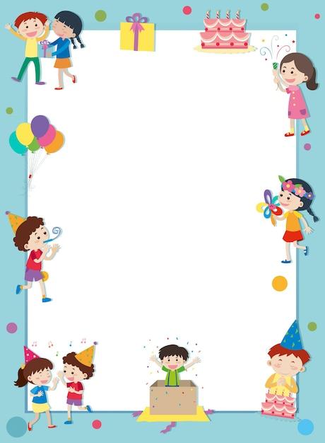 plantilla de borde con ni u00f1os felices en la fiesta