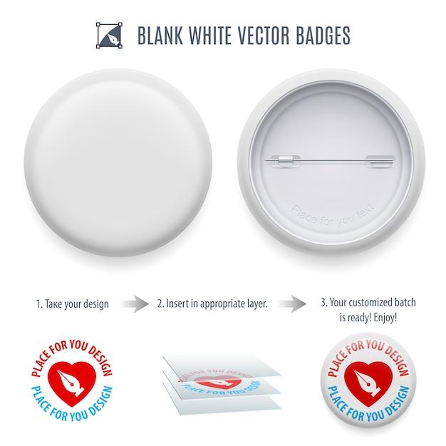 Plantilla de botón pin-back en blanco Vector Premium