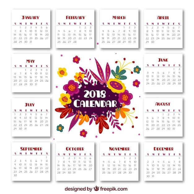 Plantilla De Calendario 2018 Floral Descargar Vectores Gratis
