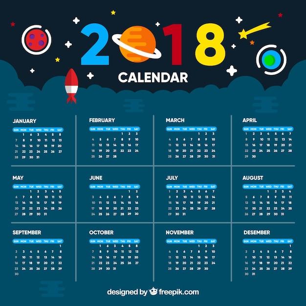 Plantilla De Calendario 2018 De Universo Descargar