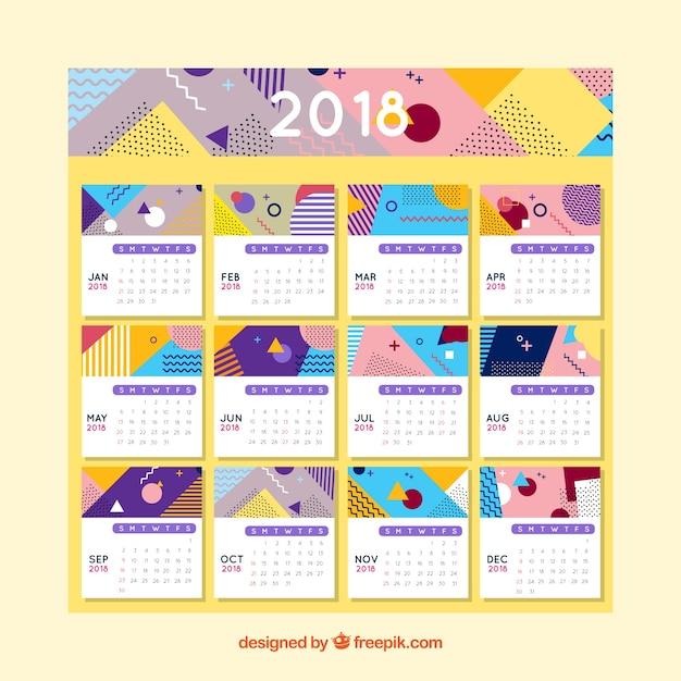 Plantilla De Calendario 2018 Descargar Vectores Gratis