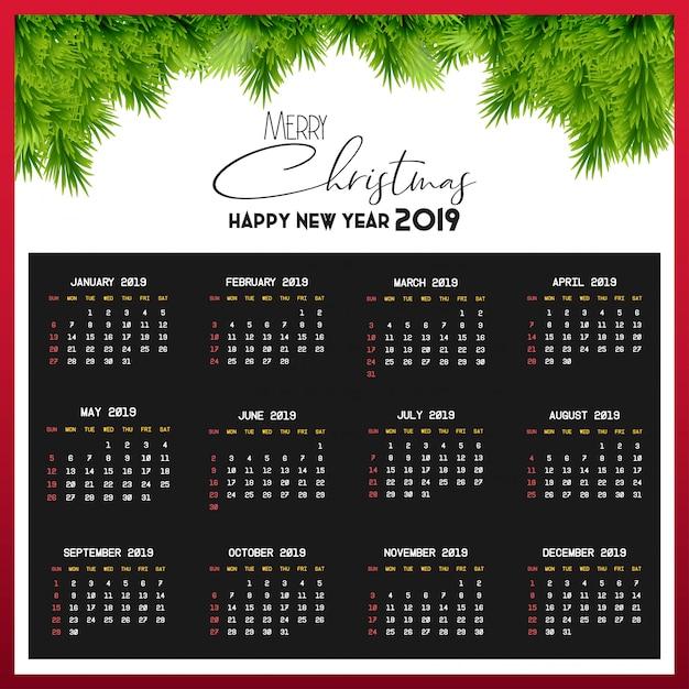 Plantilla de calendario 2019 Vector Premium