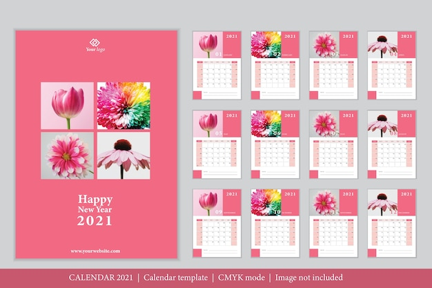 Plantilla de calendario 2021 de diseño moderno vector gratuito