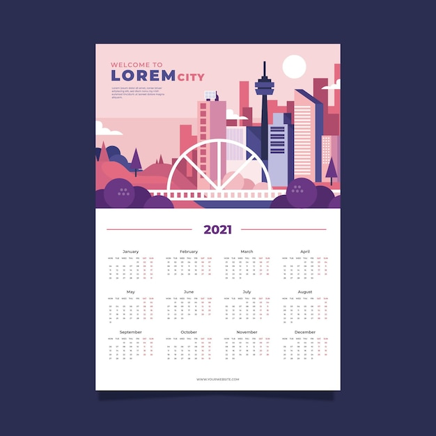 Plantilla de calendario 2021 Vector Premium