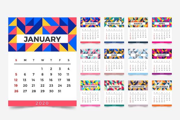 Plantilla de calendario abstracto 2020 Vector Premium