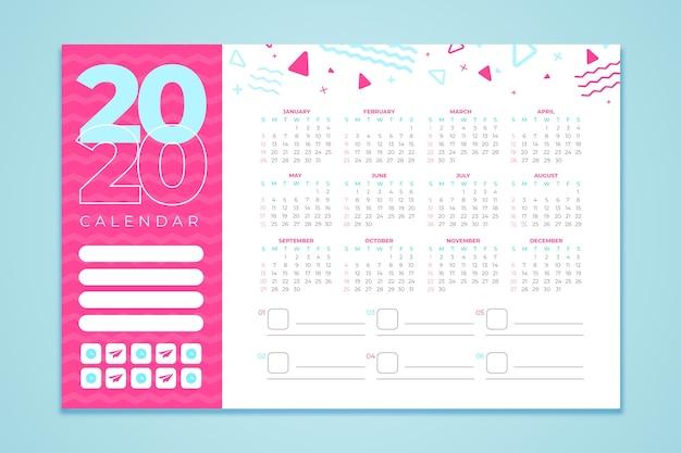 Plantilla de calendario abstracto 2020 vector gratuito