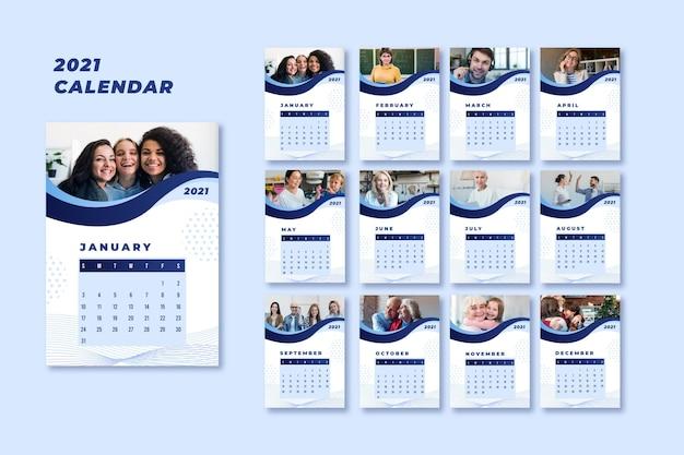 Plantilla de calendario abstracto 2021 Vector Premium