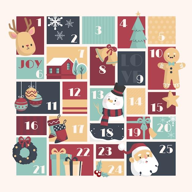 Plantilla de calendario de adviento diseño plano vector gratuito