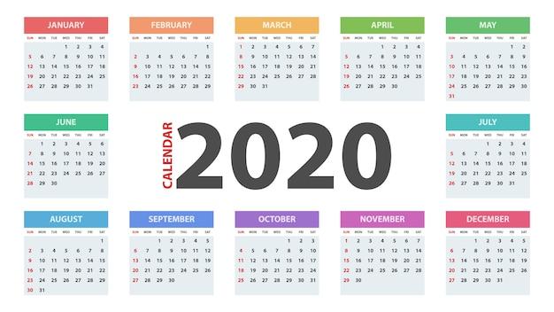 Calendario Del Ano 2020 En Espanol.Plantilla De Calendario Ano 2020 Descargar Vectores Premium