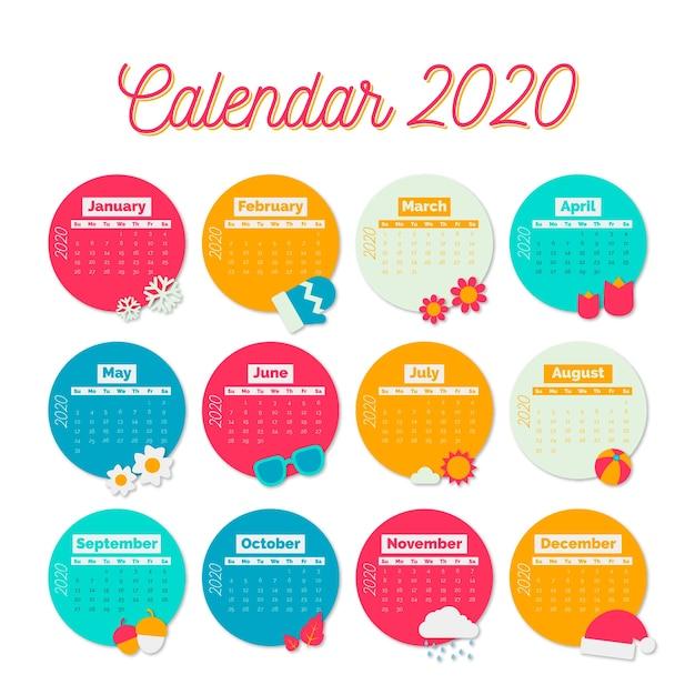 Plantilla de calendario colorido para 2020 vector gratuito