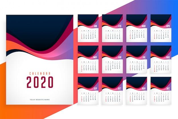 Plantilla de calendario elegante de año nuevo 2020 moderno vector gratuito