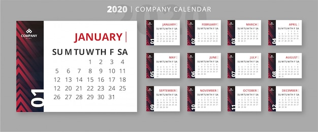Plantilla de calendario empresarial 2020 moderno vector gratuito