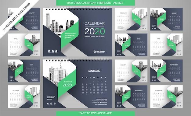 Plantilla calendario de escritorio 2020 todos los meses incluidos Vector Premium