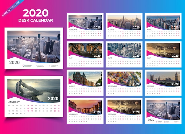 Plantilla de calendario de escritorio 2020 Vector Premium