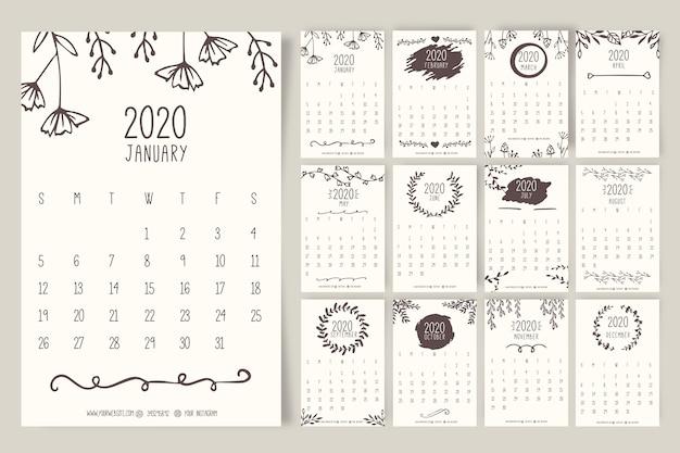 Plantilla de calendario floral 2020 dibujados a mano Vector Premium