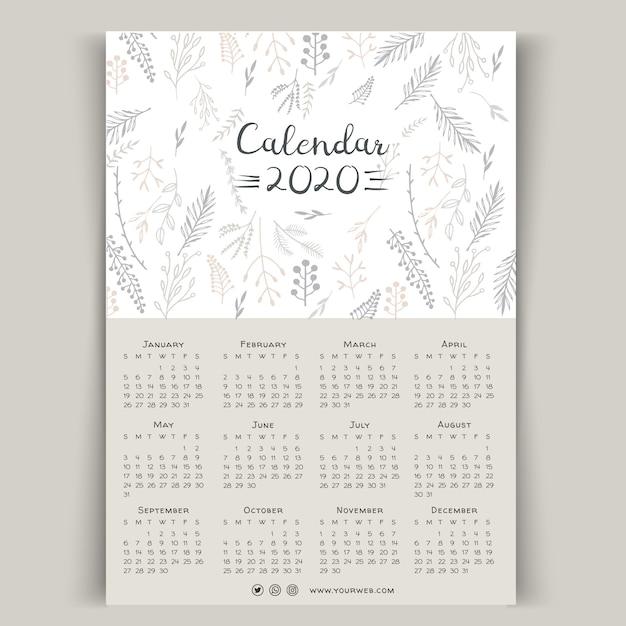 Plantilla de calendario floral 2020 dibujados a mano vector gratuito