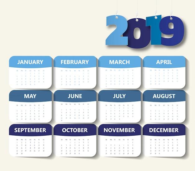 Plantilla de calendario moderno 2019 Vector Premium