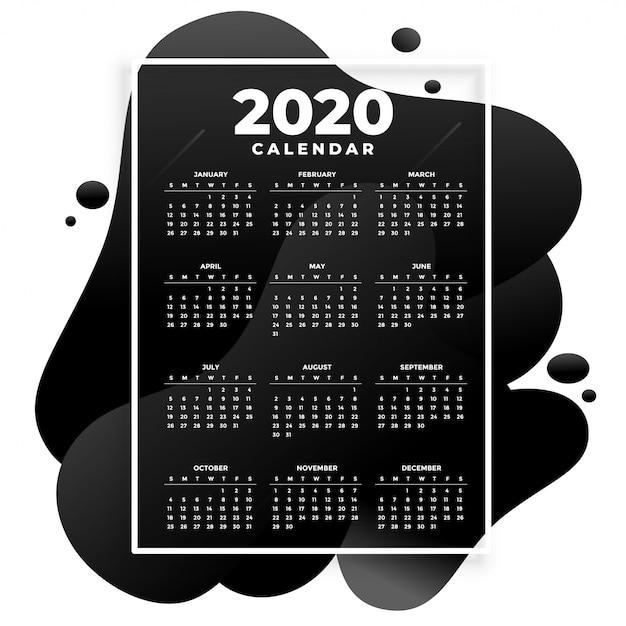 Plantilla de calendario moderno 2020 absract negro vector gratuito