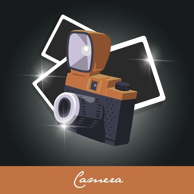 Plantilla  con cámara polaroid vector gratuito