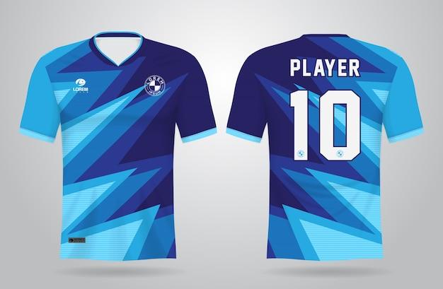 Plantilla de camiseta deportiva abstracta azul para uniformes de equipo Vector Premium