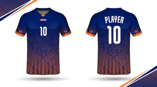 Plantilla de camiseta de fútbol atrás y frontal Vector Premium