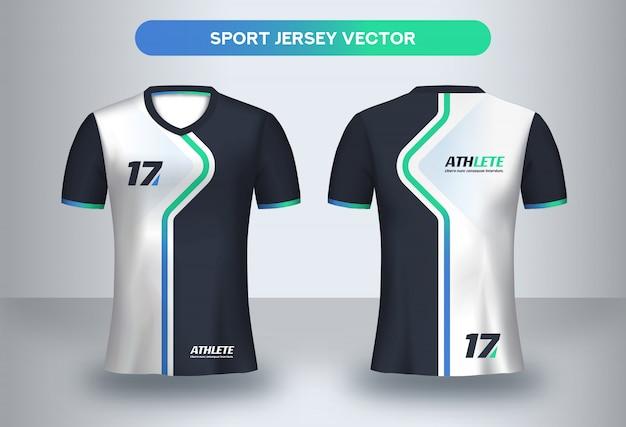 Plantilla de camiseta de fútbol, camiseta de uniforme de club de fútbol vista frontal y posterior. Vector Premium