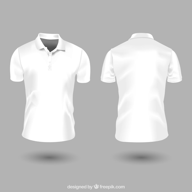 2226f1f77a8df Plantilla de camiseta de polo blanca para hombre