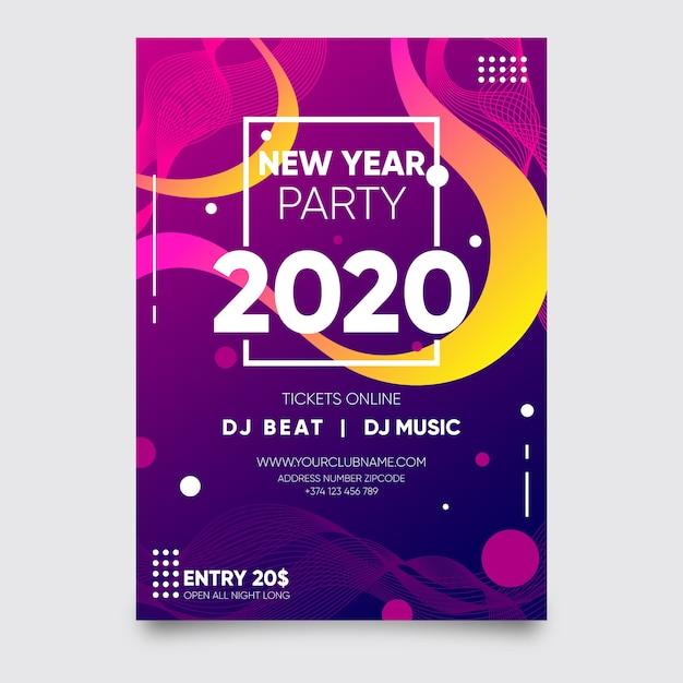 Plantilla de cartel abstracto fiesta año nuevo 2020 vector gratuito