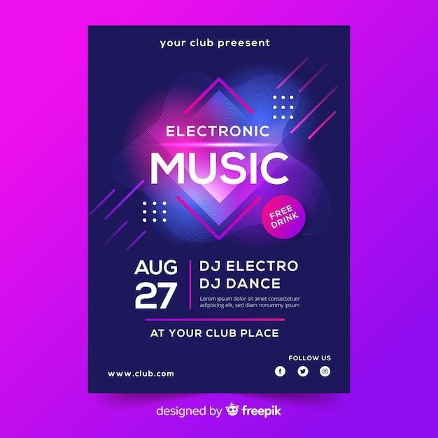 Plantilla de cartel abstracto de música electrónica vector gratuito