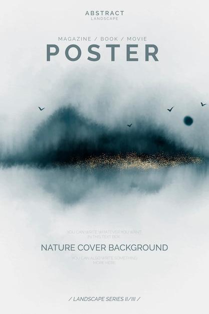 Plantilla de cartel abstracto con paisaje elegante vector gratuito