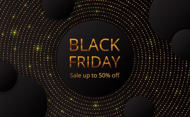 Plantilla de cartel de banner de oferta de venta de viernes negro con brillo de punto dorado de círculo Vector Premium