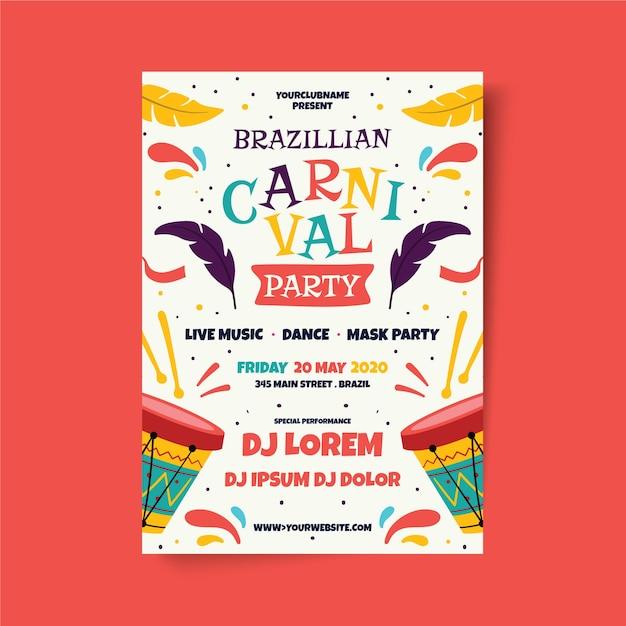 Plantilla de cartel de carnaval brasileño dibujado a mano vector gratuito