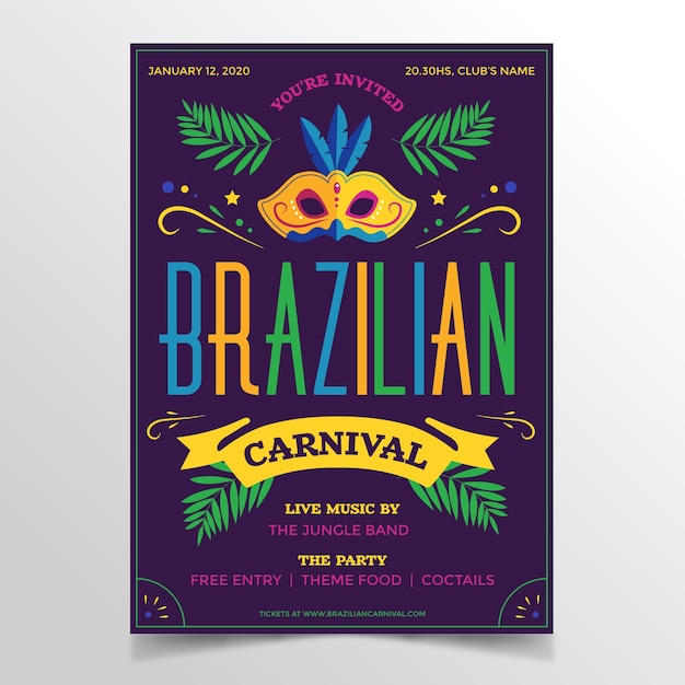 Plantilla de cartel de carnaval brasileño de diseño plano vector gratuito
