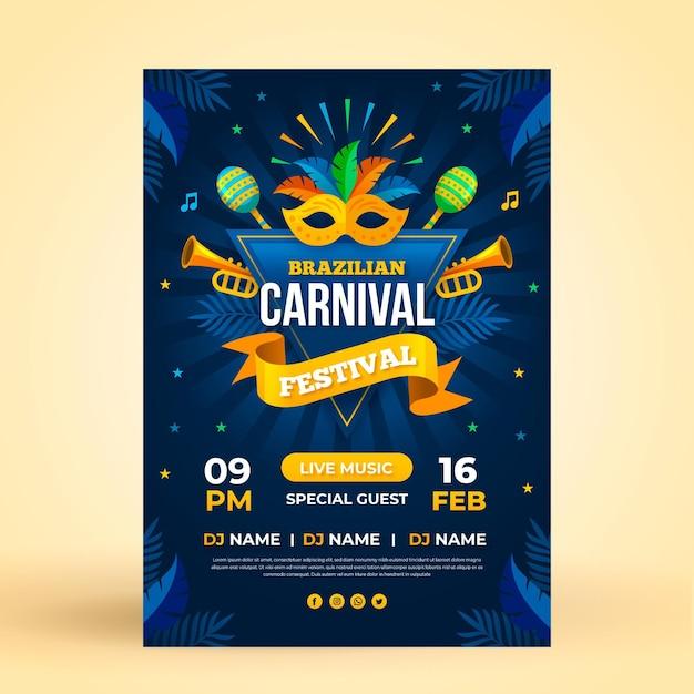 Plantilla de cartel de carnaval brasileño en diseño plano vector gratuito