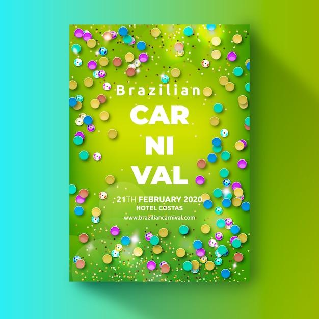 Plantilla de cartel de carnaval brasileño realista vector gratuito