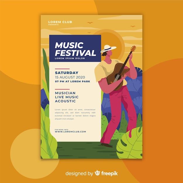 Plantilla de cartel colorido festival de música dibujada a mano vector gratuito