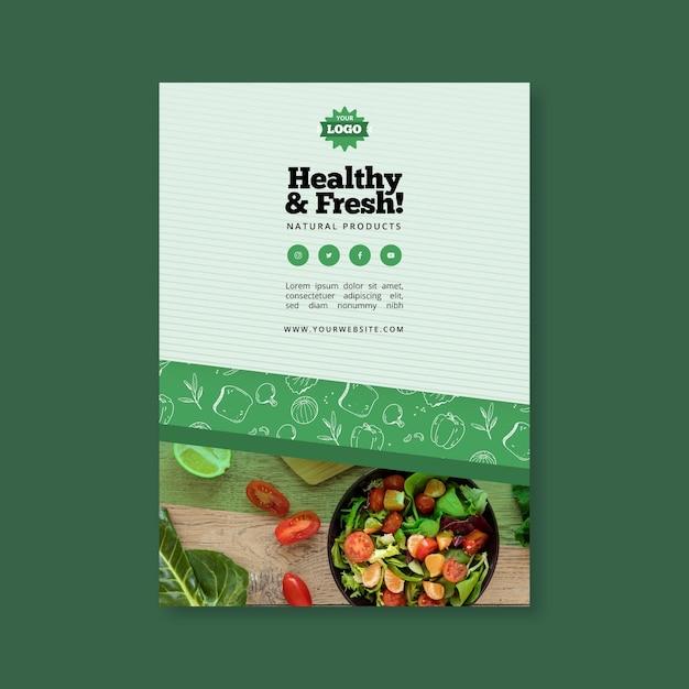 Plantilla de cartel de comida sana y bio vector gratuito