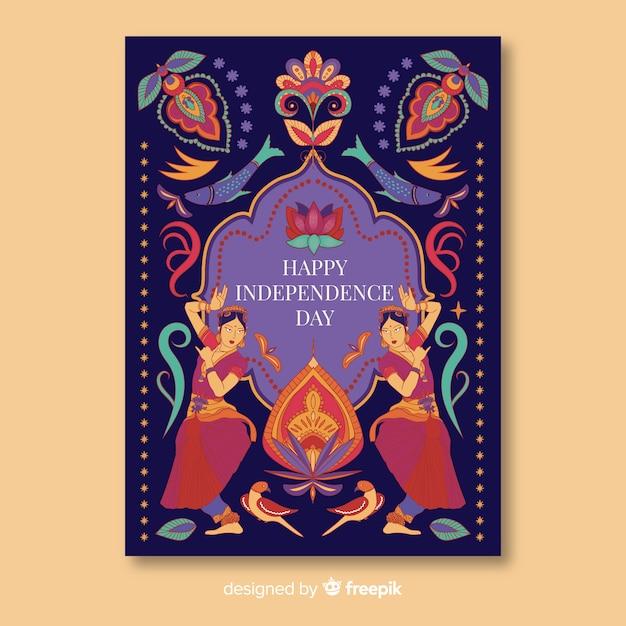Plantilla de cartel del día de la independencia en el estilo de arte indio vector gratuito