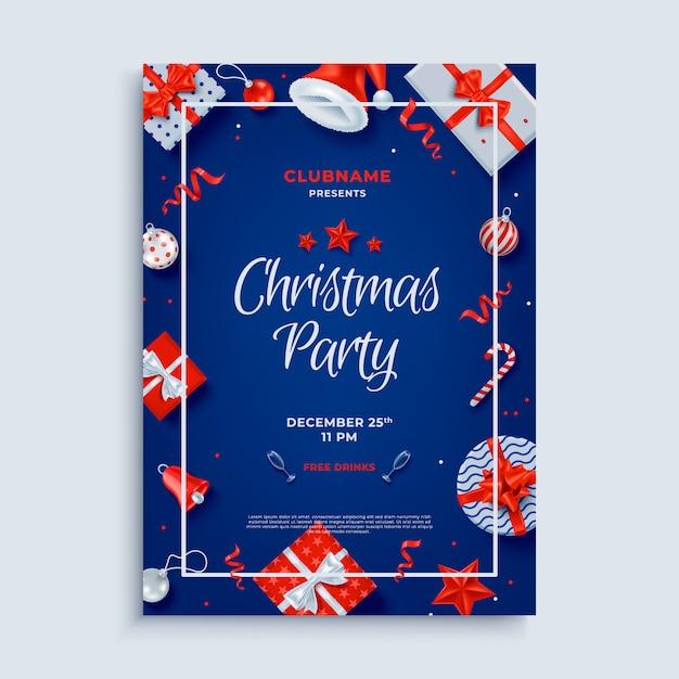Plantilla de cartel de diseño de fiesta de feliz navidad Vector Premium