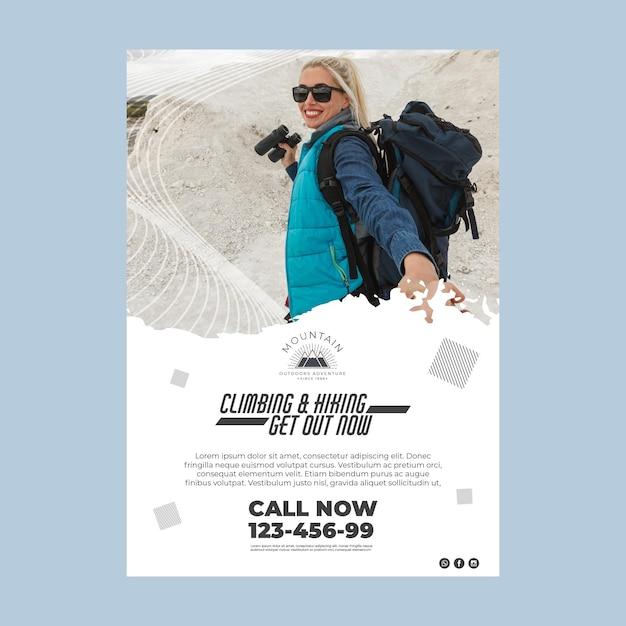 Plantilla de cartel de escalada con foto vector gratuito