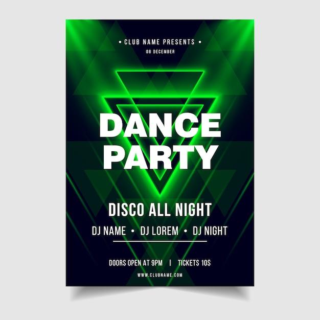 Plantilla de cartel de evento de música de noche de fiesta de baile Vector Premium