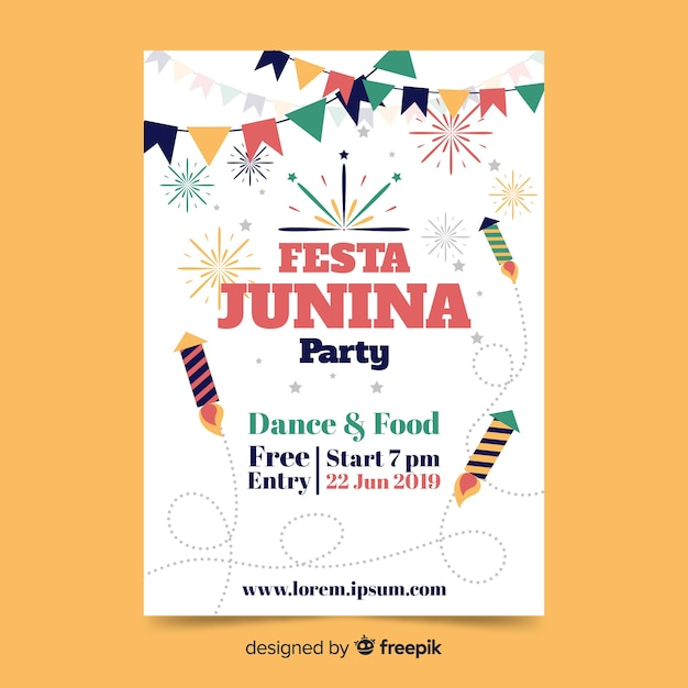 Plantilla de cartel de festa junina flat vector gratuito