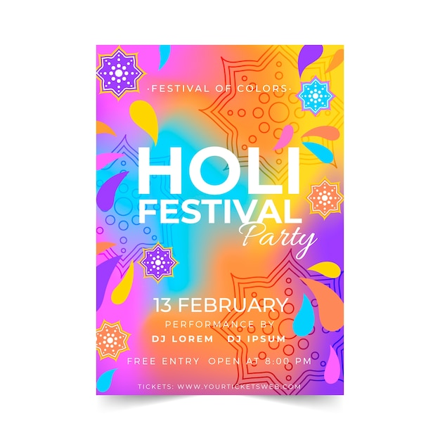 Plantilla de cartel del festival holi dibujado a mano vector gratuito