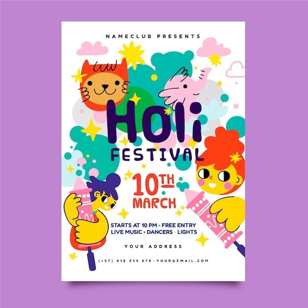 Plantilla de cartel de festival holi dibujado a mano vector gratuito