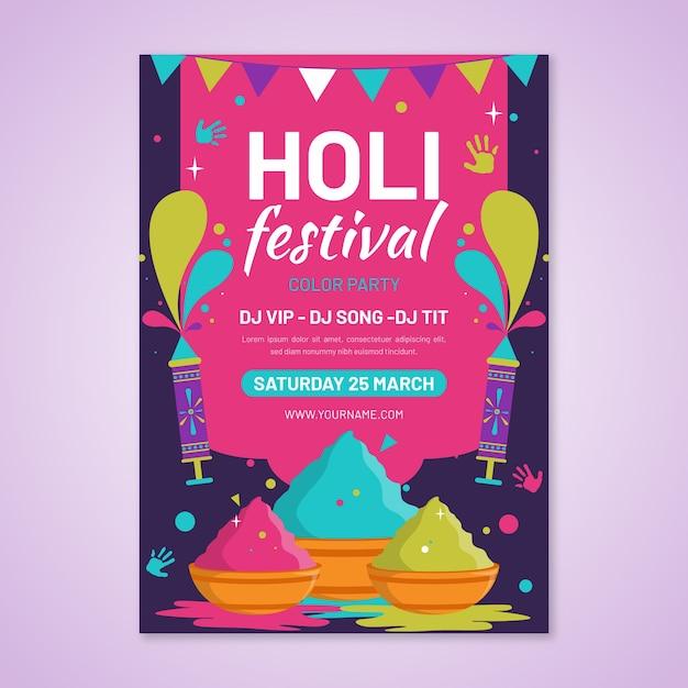 Plantilla de cartel de festival holi de diseño plano vector gratuito