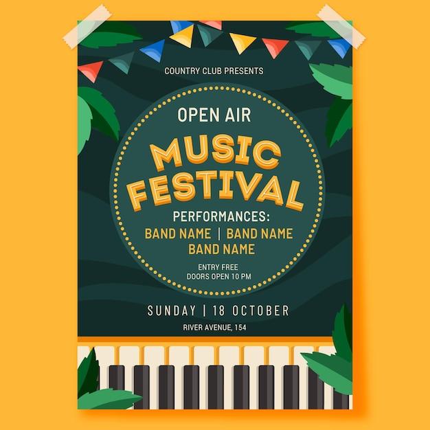 Plantilla de cartel de festival de música al aire libre vector gratuito