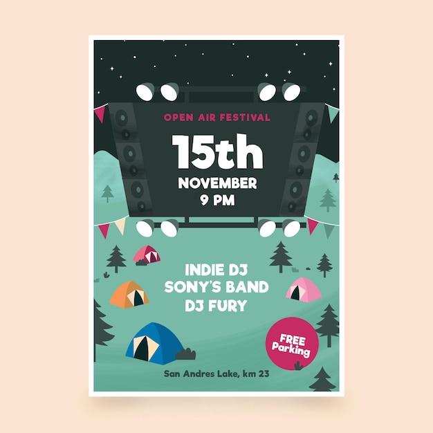 Plantilla de cartel de festival de música al aire libre Vector Premium