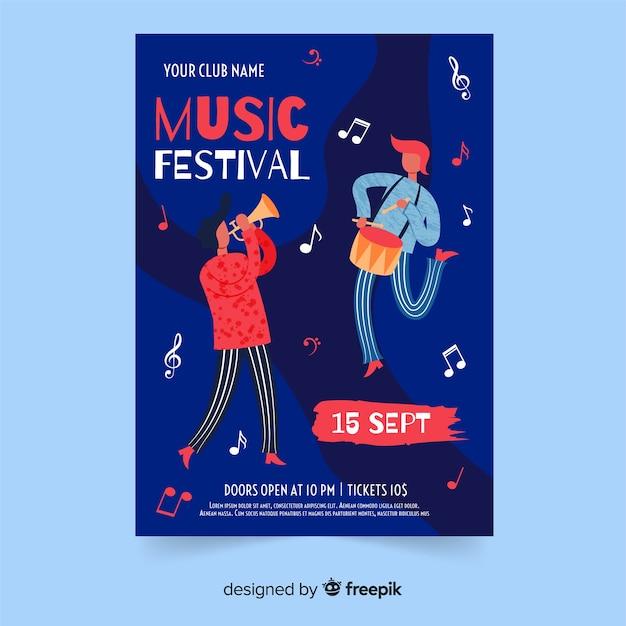 Plantilla de cartel del festival de música dibujada a mano vector gratuito