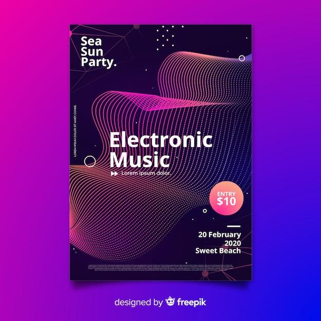 Plantilla de cartel del festival de música con olas vector gratuito